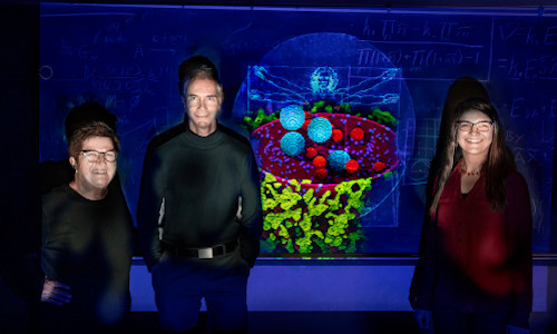 Chemistry professors Zaida Luthey-Schulten, left, Martin Gruebele, and research scientist Zhaleh Ghaemi.
